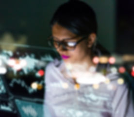 businesswoman looking at futuristic inte