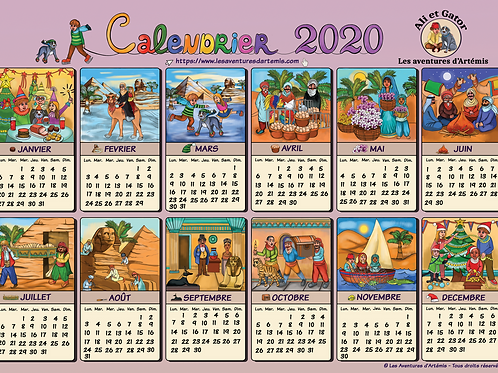 Calendrier 2020 / Set de Table x 2 + 1 Autocollant
