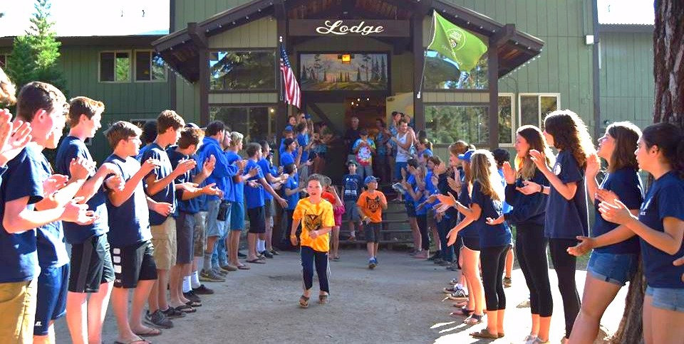 Children run to join morning Pow Wow at Montecito Sequoia Lodge Family Camp