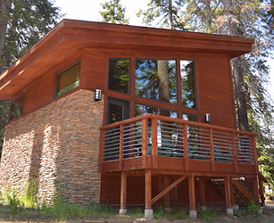 Exterior View of Upscale Forest Cabin