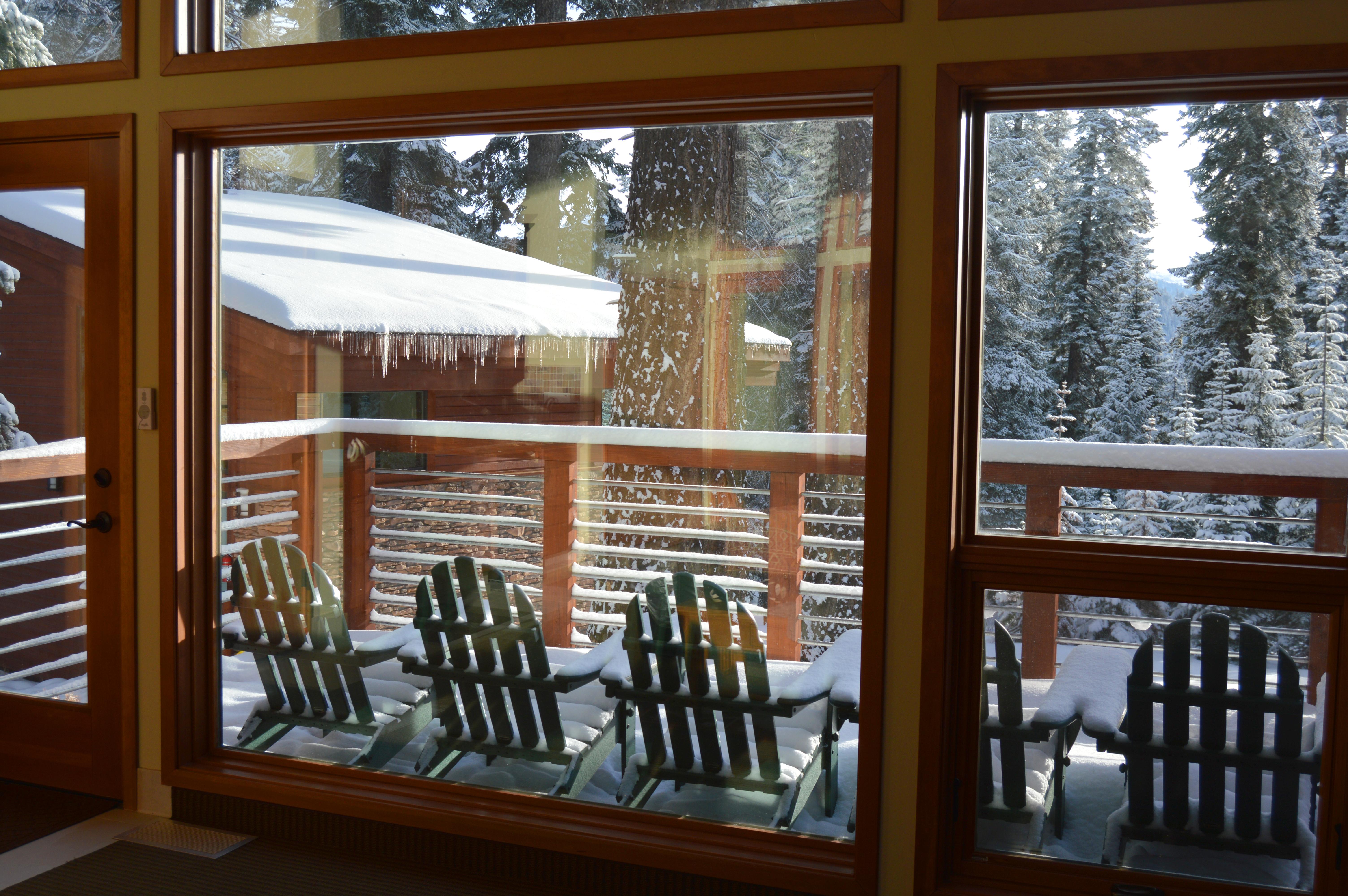 Forest Cabin Deck in Winter