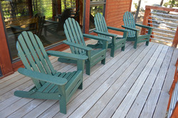 Forest Cabin Back Deck with Adirondack Chairs