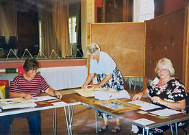 2000 Joan handing in her paintings for t