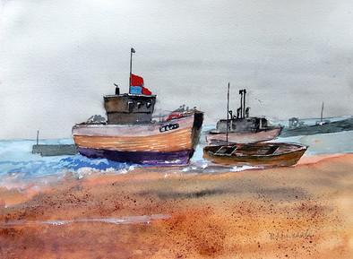 Boats at Hastings -  Bernard Winchester
