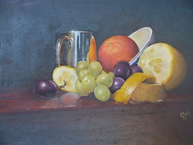Still life with tankard and orange - oil
