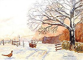 Winter scene with pheasant - Joan Palmer