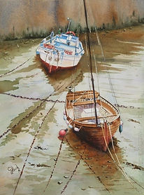 Lynmouth at low tide - watercolour.jpg