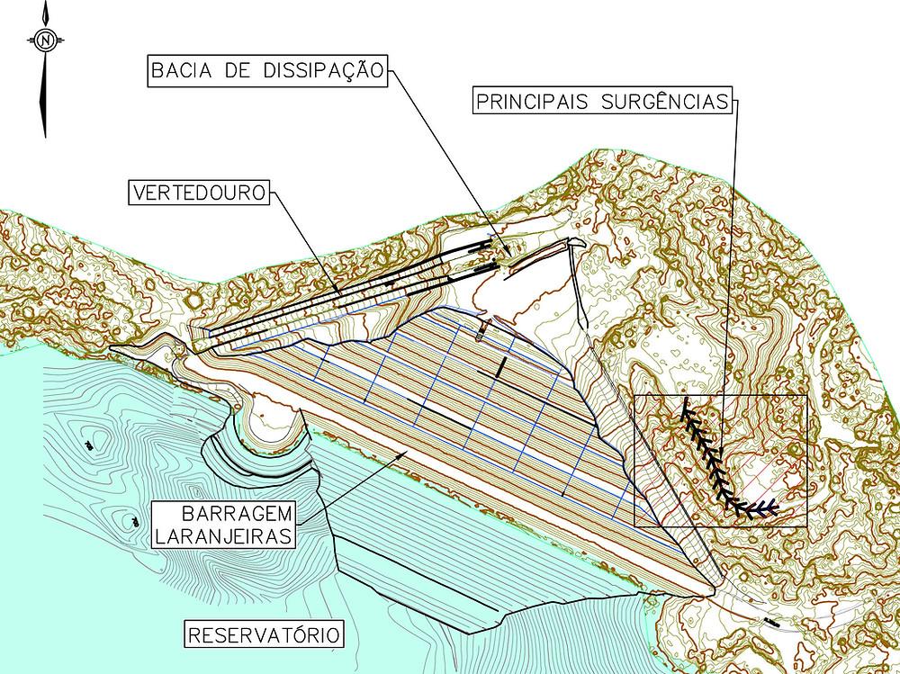 Projeto detalhado para medida de contenção de pontos de surgências identificados na ombreira direita da Barragem Laranjeira Montante e correção de erosões oriundas de fluxos superficiais de águas de chuva