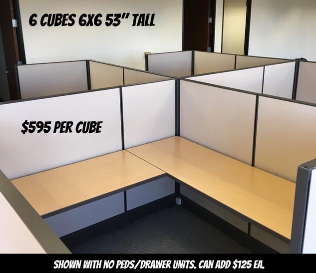 """6x6 Cubes 53"""" Tall $595 Each"""