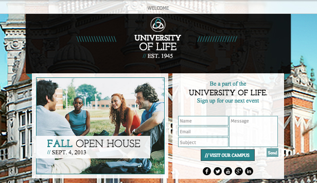 See All Templates website templates – University Landing Page