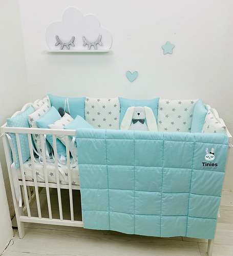 סט TINIES למיטת תינוק/טורקיז