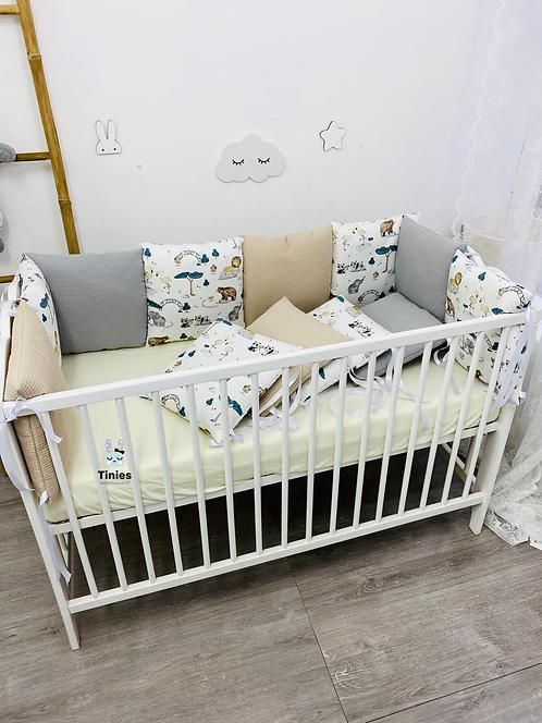 מגן ראש למיטת תינוק - דגם Zoo