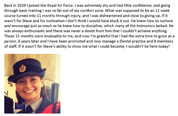 Testimonial from a RAAF cadet for I Am Enough Coaching