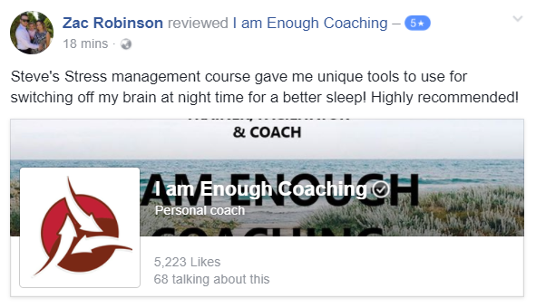Testimonial for the Stress Management Course from I Am Enough Coaching