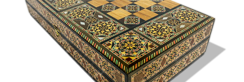 Holz Backgammon/Schach Brett inkl. Holz Steine BK401