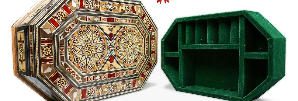 Holz Mosaik Schatulle mit Schmuck Unterteilung K30206U