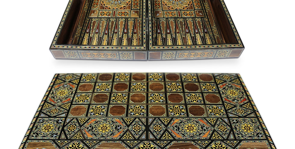 Holz Backgammon/Schach Brett inkl. Holz Steine BK60
