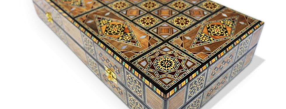 Holz Backgammon/Schach Brett inkl. Holz Steine BK505