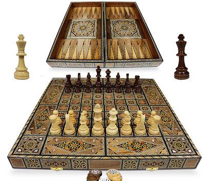 Holz Backgammon/Schach Brett inkl. Holz Steine und Figuren BK502F