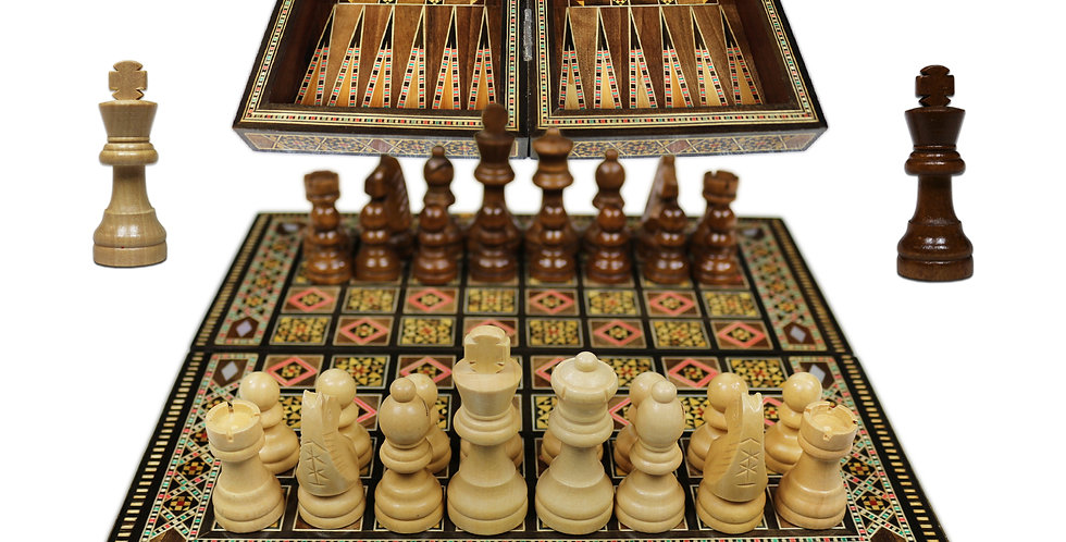 Holz Backgammon/Schach Brett inkl.Steine&Figuren BK301F
