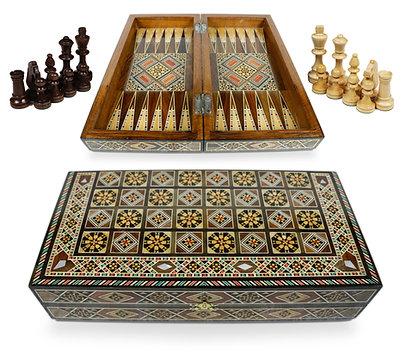 Holz Backgammon/Schach Brett inkl.Holz Steine,Figuren BK301AF