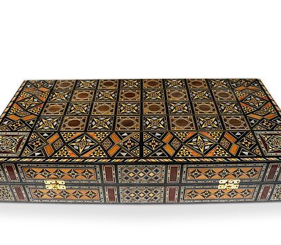 Holz Backgammon/Schach Brett inkl. Holz Steine BK503