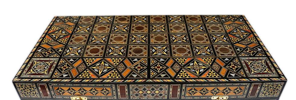 Damaskunst Holz Mosaik Backgammon Schach Brett