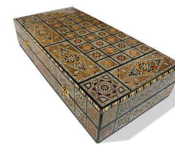 Holz Backgammon/Schach Brett inkl. Holz Steine BK502
