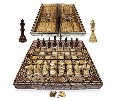 Holz Backgammon/Schach Brett inkl. Holz Steine und Figuren BK50