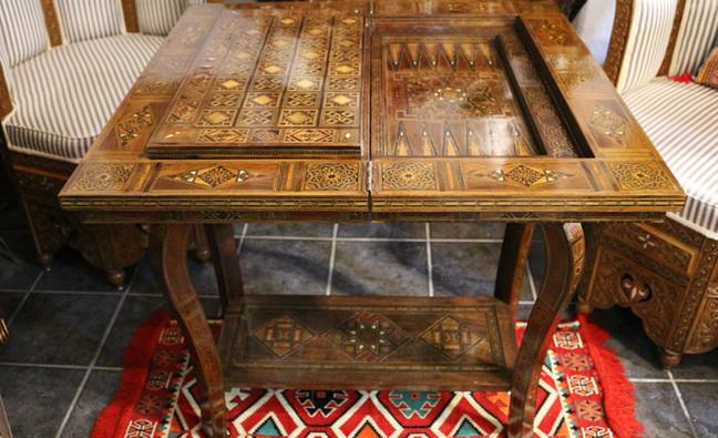 Holz Backgammon/Schach/Karten Spiel  Klappbar Tisch 2