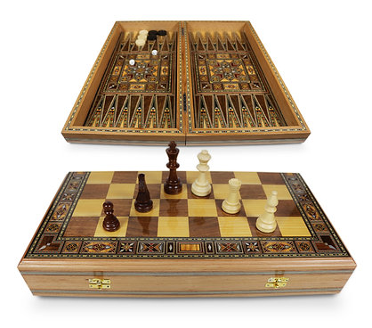 Holz Backgammon/Schach Brett inkl. Holz Steine&Figuren BK510 F