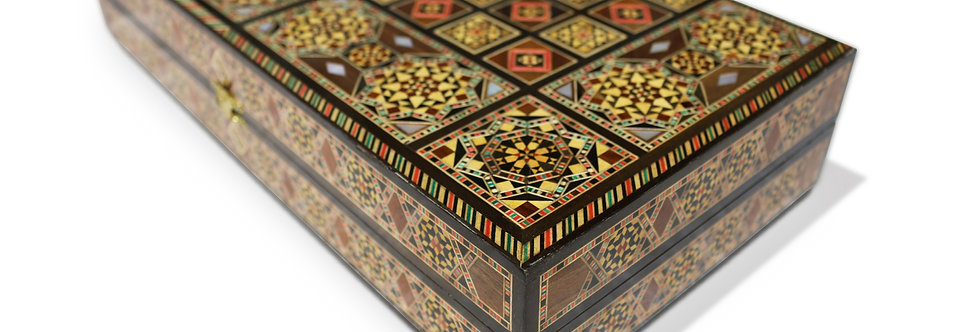 Holz Backgammon/Schach Brett inkl. Holz Steine BK402