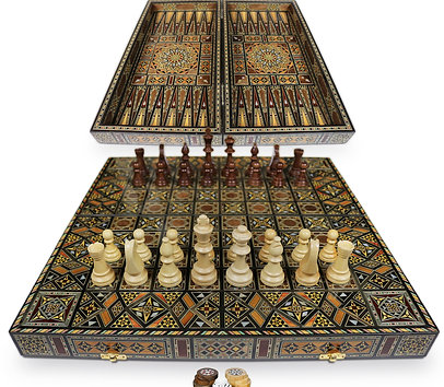 Holz Backgammon/Schach Brett inkl. Holz &Figuren BK503 F