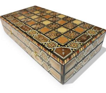 Holz Backgammon/Schach Brett inkl. Holz Steine BK504