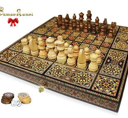 Holz Backgammon/Schach Brett inkl. Holz Steine &Figuren BK402F