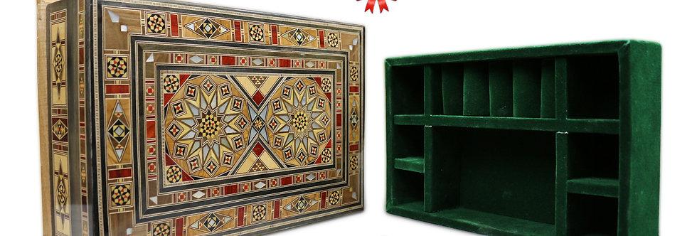Holz Mosaik Schatulle mit Schmuck Unterteilung K3020U