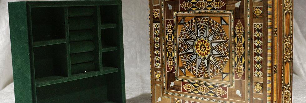 Holz Mosaik Schatulle mit Unterteilung