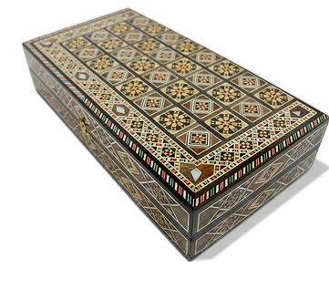 Holz Backgammon/Schach Brett inkl. Holz Steine BK301