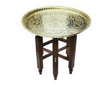 Beistelltisch,Tischgestell aus massivem Holz mit Tablett aus Messing, Teetisch