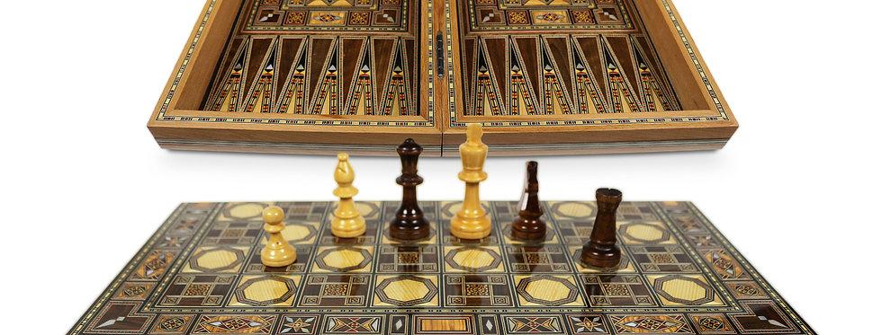 Holz Backgammon/Schach Brett inkl. Holz Steine&Figuren BK520 F