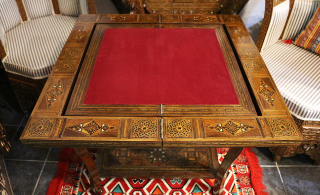Holz Backgammon/Schach/Karten Spiel  Klappbar Tisch 3