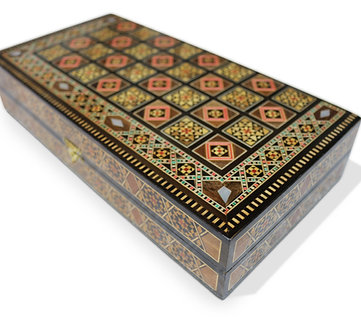 Holz Backgammon/Schach Brett inkl. Holz Steine BK302