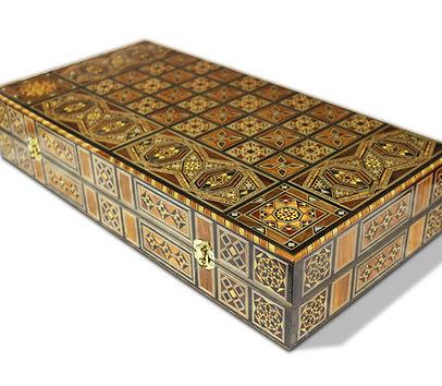Holz Backgammon/Schach Brett mit 30 Holz Steine