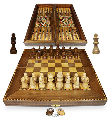 Holz Backgammon/Schach Brett inkl. Holz Steine und Figuren BK40