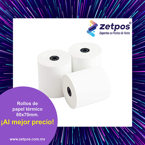 Caja c/75 rollos de papel térmico premium 80x70 mm. Precio unitario $20.00