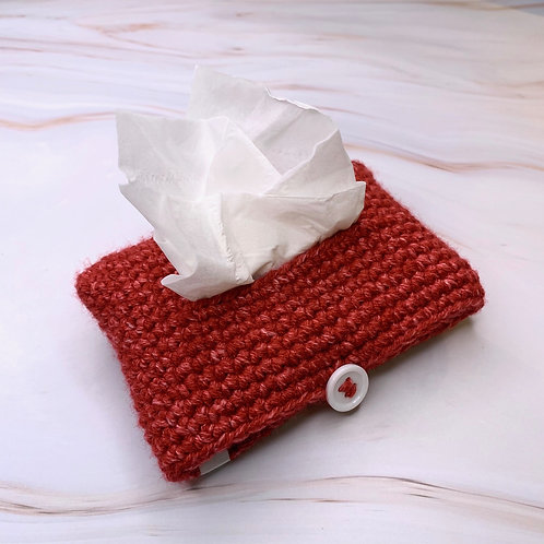 Tissue Packet Holder (Red Tinted Denim)