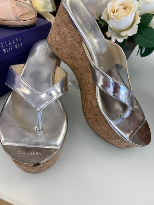 Jimmy Choo Silver Wedge Sandal