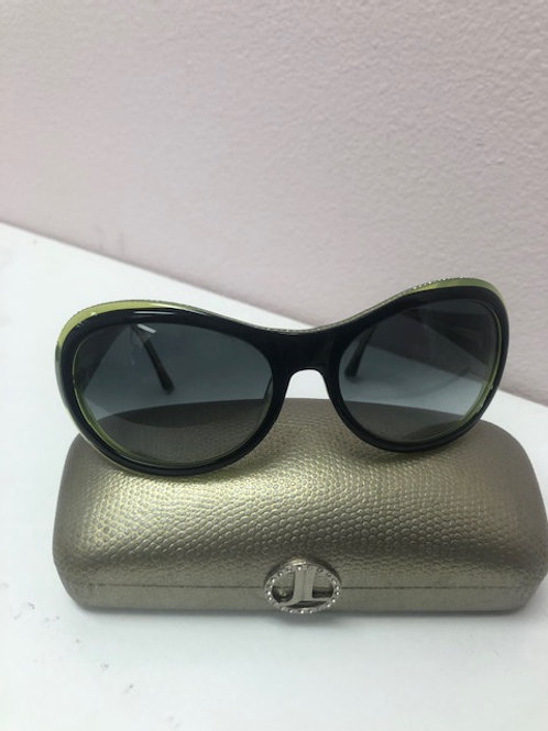 Judith Leiber Green Sunglasses with Rhinestones