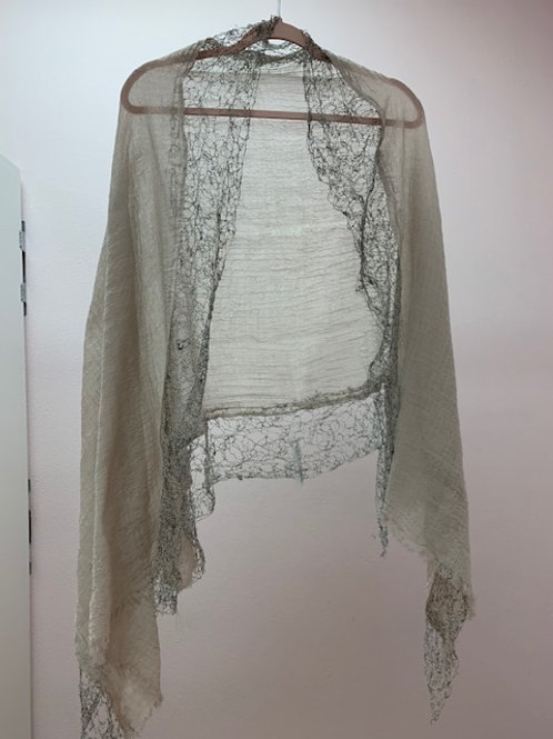 Beige Shawl with Crochet ends