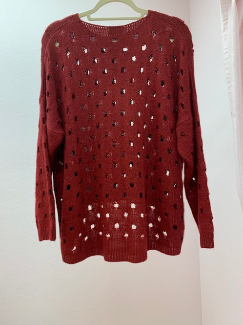 Isle Red Sweater With Holes
